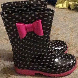 Minnie Mouse Size 10 Black Polka Dot Rainboots